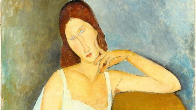 Particolare del Ritratto di Jeanne Hébuterne dipinto da Modigliani