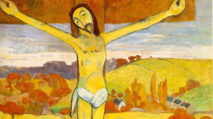 particolare de Il Cristo giallo, opera di Gauguin